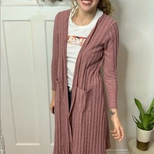 Dusty Blush Pink Long Ribbed Duster Cardigan